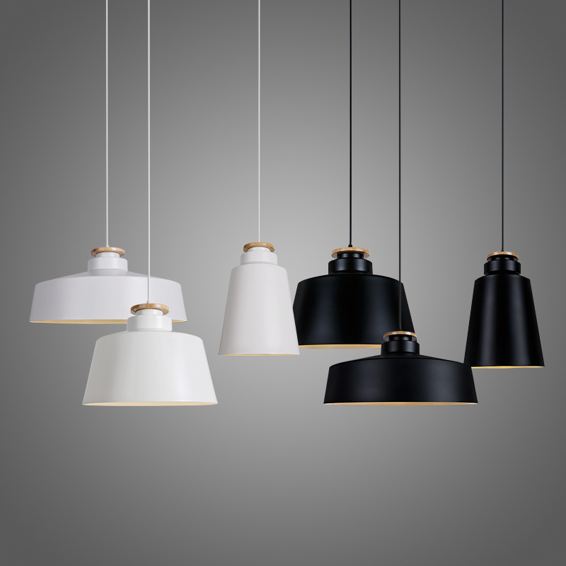 Modern Pendant Light Wood Aluminum Lamp E27 Socket Loft Hanging Light 3 Styles White Black Fixture Industrial Lighting WPL069<br>
