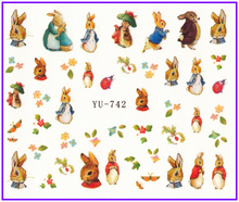 Nail Sticker CARTTON LITTLE SWEETIE KAWAII RABBIT EASTER Water Transfers Stickers Nail Decals Stickers YU736-747(China)