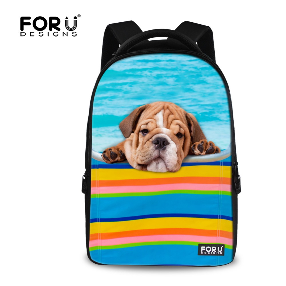 Kawaii 3D Animal Pug Dog Printing School Backpack Teenager Girls Women Travel Backpacks Children Student Laptop Backpack Mochila<br>
