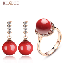 KCALOE Fine Red Jewerly Sets For Women Fashion Crystal Rhinestone Rose Gold Color Earrings Ring Simulated Coral Jewellery Set(China)