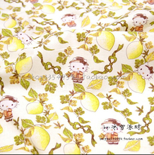 100*140cm (39''*55'') Hello Kitty lemon printed plain cotton cloth for diy sewing patchwork handmade fabrics