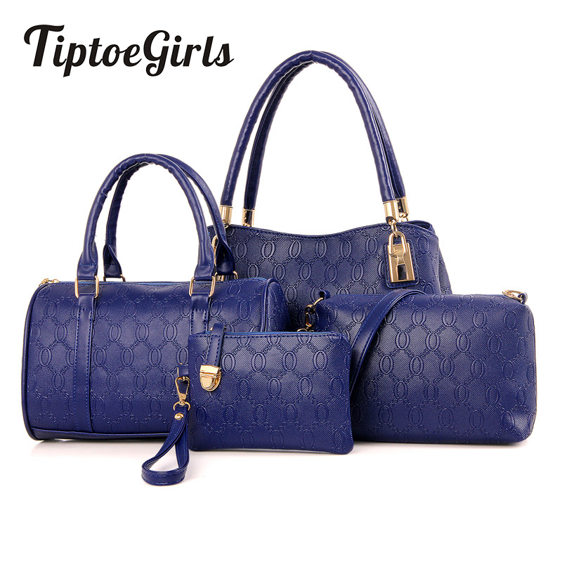 Fashion Portable PU Bag Child Package Four Sets Handbags Tide Simple Shoulder Embossed Diagonal Package Bag<br>