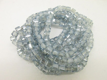 free ship Mini order 5 USD Grade AA A 190 PC lot  2 String 4 mm  light blue gray   Crystal  Glass  Cube Sequare Beads