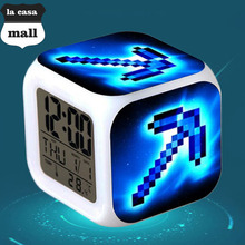 Brand la casa mall Sword LED 7 color Flash/Change Digital Alarm Clock Game Character reloj despertador wekker reveil Watch