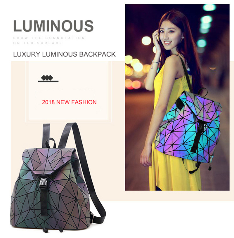 Nevenka Luminous Backpack Women Leather Geometric Backpacks Diamond Lattice Backpack Travel Girls Casual Daypacks Fashion 201806