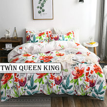 2Pcs/3Pcs Red Flower Duvet Cover Sets with Pillowcases Wrinkle Free Bed Line Twin Queen King Size for Bedroom Home Textile(China)