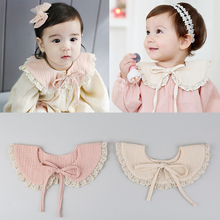 Baby Bibs Cotton Newborn Burp Clothes O-ring Toddler Scarf With Lace Infant Feeding Bibs Nursing Pink Beige Bavoirs Slabbers(China)
