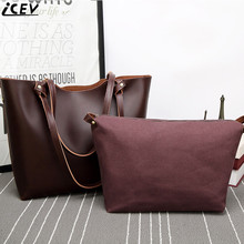 ICEV 2017 new vintage big tote bags handbags women famous brands shoulder bag lady office work handbag soft pu leather bag set