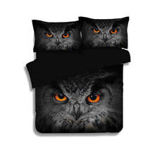 Black Bedlinens 3/4PCs Eagle Owl Bedding Sets Twin Full Queen King Sizes 3d Quilt/Duvet Cover for Boys Adults Cotton Pillowcases(China)