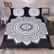 BeddingOutlet Mandala Print Bedding Set Queen Size Floral Pattern Duvet Cover Black and White Bohemian Bedclothes Lotus Bed Set