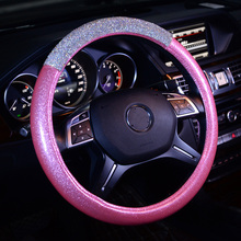 New Fashion Crystal Glitter Leather Car Steering Wheel Covers Diamond Auto Steering-Covers Cases for Women Girls Car Accessories