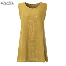 ZANZEA Women Blouses 2017 Summer Shirts Sexy O Neck Sleeveless Solid Blusas Casual Loose Cotton Split Hem Plus Size Tops