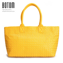 Botom Newest 100% handmade Woven Faux Leather Handbags Tote Fashion Women Shoulder Bags High Quality Ladies Casual Zipper Bag