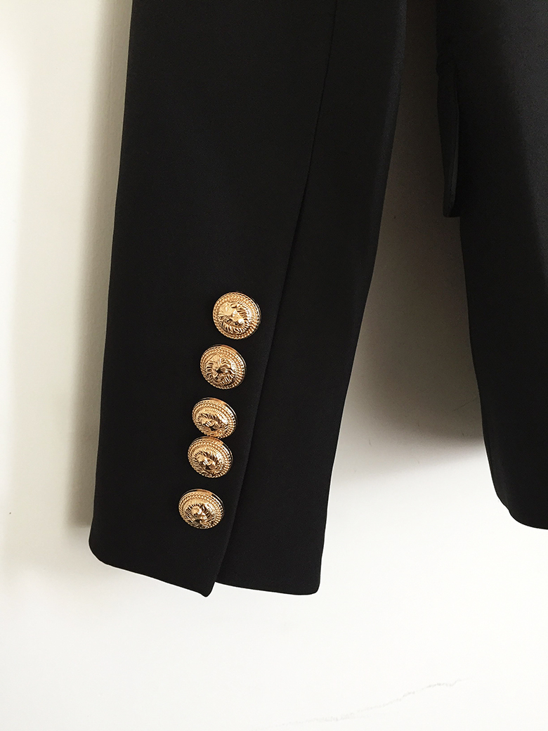 TOP QUALITY Designer Blazer Women's Double Breasted Metal Lion Buttons
