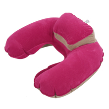 Inflatable Neck Pillow Soft Travel Air Cushion Sleep Support for Flights Car rose red