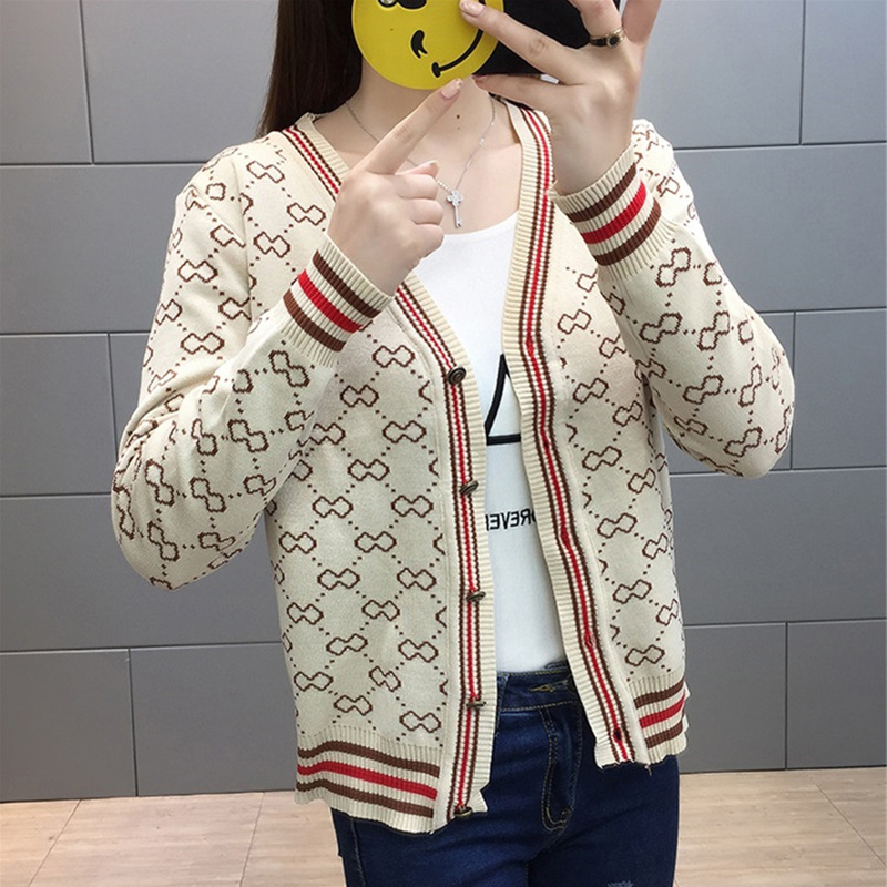 Button Cardigan Women Sweater High Street V,neck Argyle