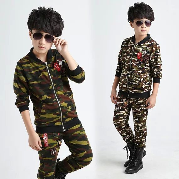 2017 spring autumn Kids suits Sportswear Camouflage Clothing 2pcs set  Coat+Pant Baby Boys clothes Camo Sports suit Tracksuit<br><br>Aliexpress
