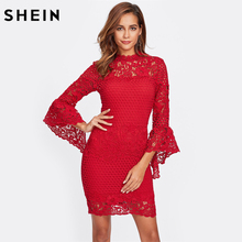 SHEIN Flare Sleeve Guipure Lace 2 In 1 Dress Red Bodycon Dress Women Three Quarter Length Sleeve Elegant Party Dress(China)
