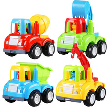 Children's Inertial Car Toy Model Car Engineering Team Excavator/Mixer Truck/Crane/Dump truck Push and Go Friction Powered Car(China)