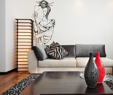 Wall Decal Beauty Salon Geisha Girl Vinyl Sticker Poster Japanses Artistic Portrait Bedroom Living Room Decoration Home WW-204