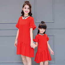 New Summer Linen Cotton Red dresses for mother and Daughter Casual design  Family style outfit Girls Ladies loose Dress
