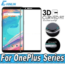 Screen Printing Toughened Glass For One Plus OnePlus 5T 5 3 3T Five Three Full Cover 3D Curved Edge Surface Tempered Glass Film(China)
