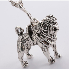 RONGQING Vintage Style Antique Silver/Bronze Pug Necklace Cute Puppy Pug Dog Pendant Choker Necklace for Women Dog Breed