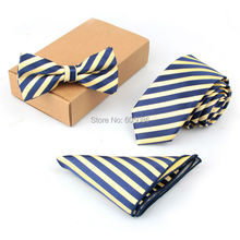 Fashion Striped Men's Ties Set 3pcs in 1 Bow Tie Handkerchief For wedding 43 designs