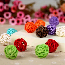 50pcs/lot 5cm Mix color birthday party decor Wedding decoration Rattan Ball,Christmas Decor Home Ornament party supplies(China)