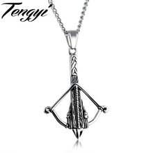 TENGYI Crossbow Design Pendant Men Necklaces Punk Style Gold/Black/Steel Color Arrow Necklace For Cool Men Jewelry Gifts TY1185