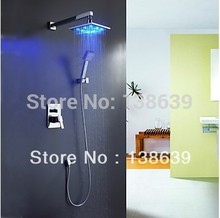 Brass wall mounted rainfall LED shower sets,Chrome bathroom head shower faucet with led spray hand 2014 new design,Free shipping