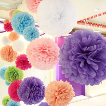 "1pcs 12""(30cm) Chinese Tissue Paper Pompoms Flower Kissing Balls Home Decoration Festive Party Supplies Outdoor Wedding Favors W"
