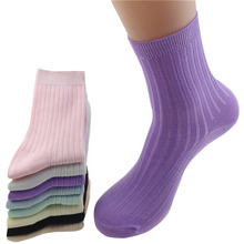 6 Pairs Women Excellent Quality Bamboo Fiber Socks Autumn Winter Thicker Deodorant Female Sock Meias Casual Candy Color Socks(China)