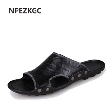 Buy NPEZKGC Summer Shoes Men's Slippers Size 46 Beach Sandal Fashion Men Sandals Leather Casual Shoes Flip Flop Sapatos masculino for $20.33 in AliExpress store
