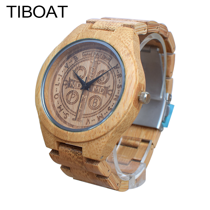 TIBOAT Brand Creative Watches Men Bamboo Wood Wristwatch with Bamboo Band Quartz Watch relogio masculino reloj de los hombres<br>