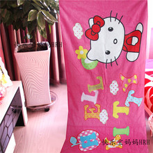 Kawaii Hello kitty Soft Absorbent travel beach towels swim spa bath towel for baby kids adults gifts bathroom Textile 155X75CM(China)