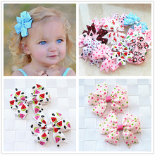 2pcs/lot baby girl hair bow flower children accessory baby barrettes hair accessories kids hairpins boutique hair clips headwear(China)