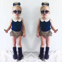 European and American style 2016 summer fashion design baby girls garment kids clothes sets,T-shirt+pant two piece for 1-4Y
