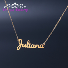 Fashion Women Name Necklace Customized Gold plate 925 Solid Silver Custom Your Name Font Banner Personalized Jewelry(China)