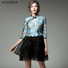 Chinese Style 2017 New Spring Summer Women's Silk Organza Patchwork Ball Gown Lady Printed Stand Collar Short Dresses
