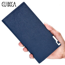 CUIKCA Fashion Brand Wallet Men Wallet Ultrathin Soft Leather Long Wallet Iron Included Angle Men Purse Credit ID&Card Holders(China)