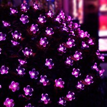 New Hot Solar Fairy String Lights 21ft 50 LED Purple Blossom Decorative Gardens, Lawn, Patio, Christmas Trees, Weddings, Parties(China)