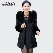 2017 S - 6XL Women Winter Hooded Fake Fur Coats Plus Size 5XL 4XL Vintage Artificial Black Faux Fox Fur Coat With Hood Big Size(China)