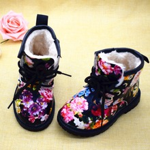 2017 Winter Children Warm Plush Girls Boots Elegant Charming Floral Flower Child Martin Boots Fashion Cute Kids Shoes For Girl