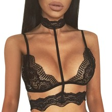 Buy Sexy Lace Bra Tops Women Lingerie Halter Sheer Seamless Bralette Transparent Cup Wireless Bras Brassiere Brasier Mujer