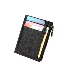Men's Genuine Leather Card Holder Wallets Unisex Women Men Credit ID Bus Card Case Holder Wallet Zip Coin Purse Pocket Wallet