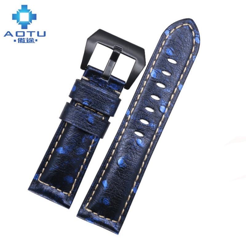 Genuine Leather Watchbands For Panerai PAM111 441 Men Leather Watch Straps Retro Men Calfskin Watch Band 24mm Correas Para Reloj<br>