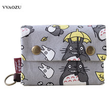 New Anime Japan TOTORO Cat Wallet Pouch Case Short Canvas Money Bags Kumamon Bear Print Card Holder Zipper Coin Pocket Purses(China)