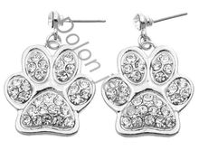 Drop Shipping 3cm Clear Crystal Rhinestone Zin Alloy Dog or Cat Animal Paw Earring Studs Fashion Jewelry(China)