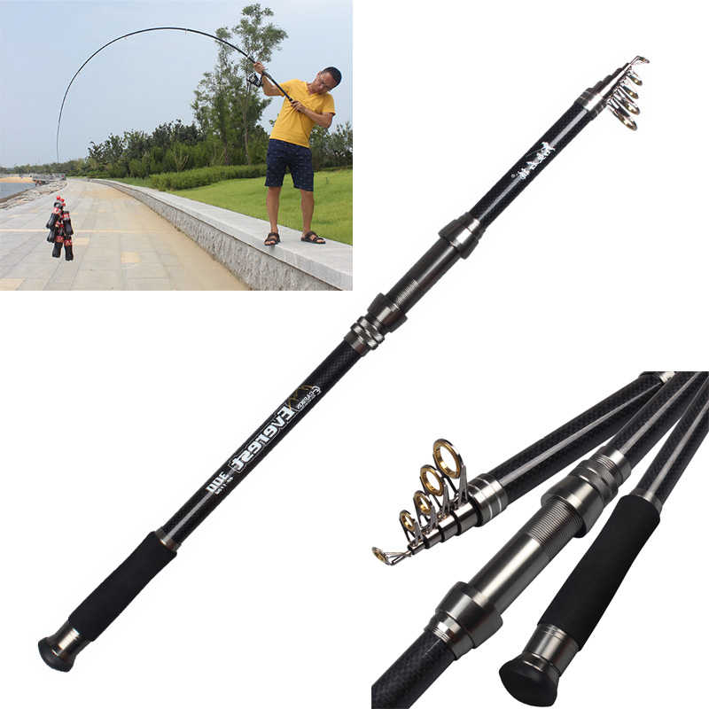 Carbon Filber Telescopic Fishing Rod Travel Spinning //1.8//2.1//2.4//2.7m Pole Y5A1